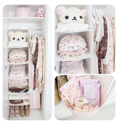 Closet organized oh so cute.