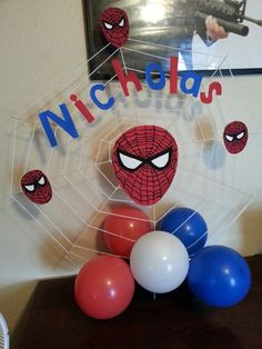 spiderman birthday party ideas | Spiderman centerpiece for boys party.
