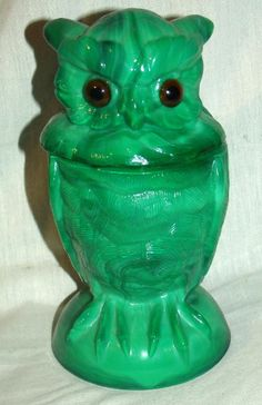 Vintage Emerald Green Slag  Glass Owl Dish / Container