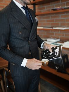 Shop the grey chalkstripe suit by Artworth. It is double breasted, has mid-sized lapels, patched pockets, buttons and will impress everyone! Double Breasted Pinstripe Suit, Navy Pinstripe Suit, Best Shopping Sites, Modern Gentleman, Suit And Tie, Street Style, Persona, Mens Fashion, Mens Suits Style
