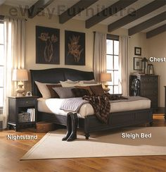 Salem Black Sleigh Bed