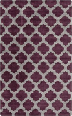 Hand tufted polyester comes together in violet and gray with a Moroccan lattice pattern from the Cosmopolitan Collection by Surya. (COS-9228)