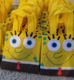 Hand crafted SpongeBob party bags