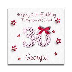 Handmade Personalised Ladies Mum Daughter Sister 30th 40th 50th Birthday Card