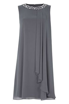 Embellished Neck Chiffon Dress in Grey – Roman Originals UK - Kleidung Ideen Women's Fashion Dresses, Casual Dresses, Formal Dresses, Long Dresses, Fall Dresses, Shift Dresses, Dresses Dresses, Dance Dresses, Designs For Dresses