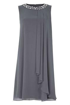 Embellished Neck Chiffon Dress in Grey - Roman Originals UK - #Chiffon #Dress #Embellished #Grey #Neck #Originals #Roman #UK
