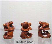 Carved & Signed! FROG on LOTUS BOXWOOD Bead 004128FR