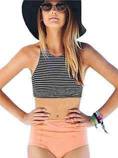 97eaeebf29d64 Amazon.com: Alipolo Women's Stripe High Waisted 2PCS Racerback Tankini  Padding Swimsuit: Clothing
