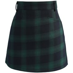 Chicwish (265 HRK) ❤ liked on Polyvore featuring skirts, mini skirts, bottoms, evening skirts, short green skirt, short mini skirts, short skirts and short tartan skirt