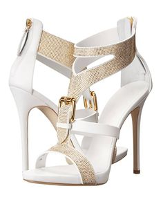 Hottest Elegant White Golden Crystal Decoration Buckle Gladiator Sandals Women Back Zipper High Heel Summer Sandals Free Ship – Daphina Eskue - Touching and Emotional Image Sexy High Heels, White High Heel Sandals, Strappy Sandals Heels, Platform High Heels, High Heels Stilettos, Strap Sandals, Sandals Platform, Dress Sandals, White Heels