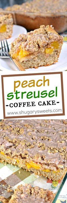 """This delicious Peach Streusel Coffee Cake is a """"must have"""" recipe for any time of year. Perfect, moist spice cake topped with peach pie and cinnamon streusel!"""