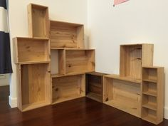 Wine crates as shelves