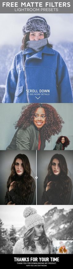 Matte Presets is a pack of 3 free perfect filters for your portrait photography. You can save your time by using these effects. via @creativetacos