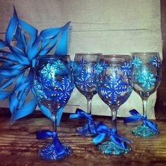 Handpainted Wine Glasses by LoveStellaMae on Etsy, $35.00