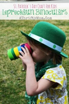 St Patricks Day Crafts For Kids, Leprechaun Trap Binoculars this is a low cost, easy DIY craft project for kids, great for preschool St Patricks Day Crafts For Kids, St Patrick's Day Crafts, Holiday Crafts, Holiday Decor, St Patricks Day Quotes, Happy St Patricks Day, Crafts For Seniors, Crafts For Teens, Kids Crafts