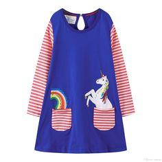 3ef6b2772b7 Rainbow Fly Horse Cartton vetements pour enfants Kids Girls Dress Children  Girls Knee-length A-line Cotton Baby Girls Dress INS