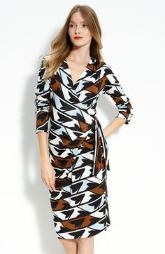 DVF 'Ember' Faux Wrap Dress: The iconic DVF silhouette in a faux-wrap, slips on over the head (ie does not require strategic pinning) version. $365 #Dress  #Faux_Wrap #DVF