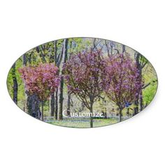 Happy Little Trees in Central Park Oval Sticker