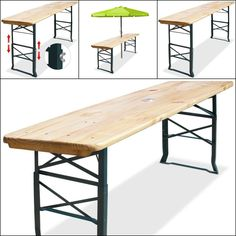 The solid table top includes a lined hole for umbrellas, so you and your guests can enjoy protected time outdoors. Folded, it can be stowed quickly and compactly until the next use. Height-adjustable foldable massive wooden table.   eBay!