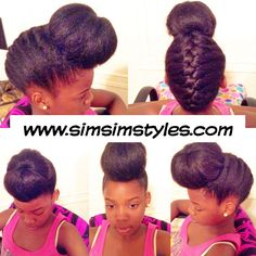 French Braid w/ Bun Natural Hair Twists, Natural Hair Updo, Natural Hair Styles, Short Hair Styles, Twist Curls, Protective Hairstyles For Natural Hair, Crown Hairstyles, French Braid, Healthy Hair