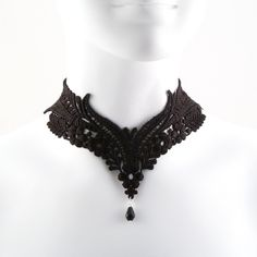 Black Lace Choker Necklace - Victorian Gothic Collar - Elegant,... ($30) ❤ liked on Polyvore
