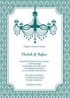 Vintage Wedding Invitation U2013 Teal ChandelierTeal Chandelier Wedding  Invitation By Printable Invitation Kits
