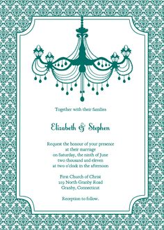 Free teal chandelier and damask vintage wedding invitation.