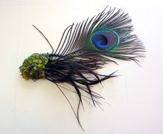 Green Peacock Envy Feather Fascinator Hair by joolienn on Etsy, $30.00 really like this one!