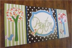 large colorful nursery art- personalized triptych - name monogram initials- M2M pottery barn Brooke bedding