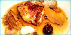 Receta de pollo rústido con ciruelas y manzanas