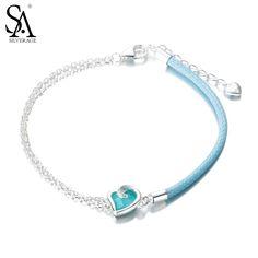 SA SILVERAGE Real 925 Sterling Silver Heart bracelets for women Cllassic Leather Heart Shape bracelets & bangles bracelet homme