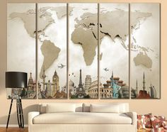 LARGE World Map Canvas Print Wall Art / 13 or 5 Panel by ZellartCo
