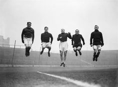 20 February 1932: GEORGE BARBER, O'DOWD, LAW, ALEX CHEYNE and PEARSON of CHELSEA FC make light work of a training session in the run up to their FA Cup tie with Liverpool FC...
