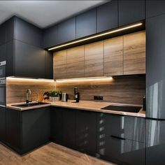 The 27 best black kitchens kitchen trends you need to see 5 Luxury Kitchens BLACK Kitchen Kitchens Trends New Kitchen Interior, Modern Kitchen Interiors, Kitchen Room Design, Kitchen Cabinet Design, Modern Kitchen Design, Home Decor Kitchen, Kitchen Furniture, Home Interior Design, Home Kitchens