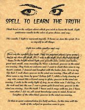 Spell Learn the Truth, Psychic Power, Book of Shadows Pages, BOS Pages, Wicca