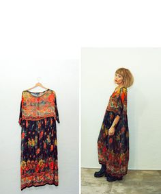 Vintage Autumn Sheer Maxi Dress / Over Sized Baggy Bag by Idlized, $48.00