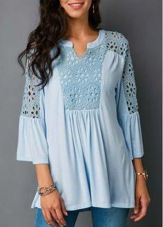 Baby Blue Lace Panel Split Neck Blouse | Rosewe.com - USD $31.86