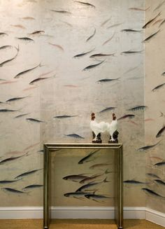 De Gournay wallpaper - Fish. On an antiqued silk with ground, hand-painted, silver-leafed Fish. The scene's 10 panels, each 36 inches/91 cm wide, belong to the Japanese & Korean collection