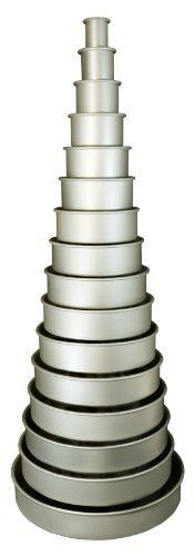 "Round Cake Pan 14tier 14 Piece 2"" Set By Fat Daddio's by Fat Daddio's,"
