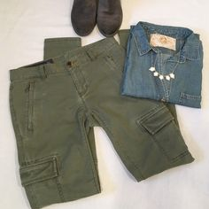 """Armani Exchange """"J11 Skinny"""" Cargo Pants These are Awesome!! The perfect amount of slight distressing to make them look perfectly lived in but not worn out. Color is Fatigue Green. Size 26. Inseam is 29.5 inches, the rise is 7.5 inches, & leg opening is 10 inches. They are a low-rise style. Thigh cargo pockets, two front pockets and two back all with zipper closures. The waistband measured flat across is 15 inches. 98% cotton, 2% spandex. In Perfect condition! Armani Exchange Pants Skinny"""