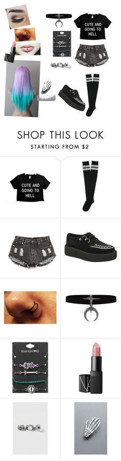 """""""Forever dark"""" by kittys-alternative-life ❤ liked on Polyvore featuring Aéropostale, Forever 21, NARS Cosmetics, Topshop and Crown and Glory"""