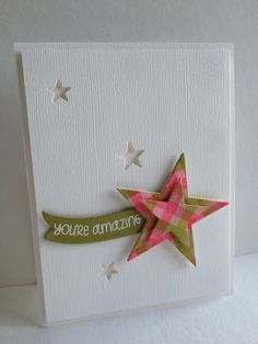 Plaid-stamped stars and plaid punches with an amazing banner make a wonderful handmade congratulations card.