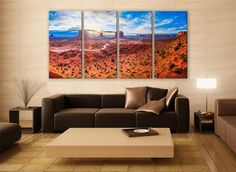 (Been there with my family....just amazing!) Utah Monument Valley Landscape Print 4 Panels Print Wall Decor Fine Art Nature Photography Repro Print for Home and Office Wall Decoration