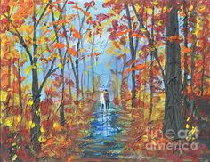 "Original SOLD Fall Promenade  11""x14"" Mixed Media Abstract  Gallery Stretched Canvas  Fine art prints and greeting cards on the link below. http://fineartamerica.com/featured/fall-promenade-sally-rice.html"