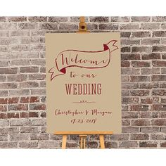 """For your wine-inspired wedding, this welcome poster itself features the text """"Welcome to our Wedding"""" as well as your names and wedding date in pretty wine-inspired colored font. Place in a frame or on an easel to complete the look. Wedding Signs, Wedding Favors, Wedding Decor, Wedding Ideas, Wedding Reception, Wedding Planning, Personalized Posters, Personalized Wedding, Welcome Poster"""