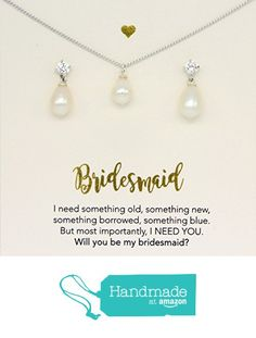 Silver freshwater pearl jewelry set,Bridesmaid gifts personalized, will you be my bridesmaid card, jewelry box, set of 6, set of 5, freshwater pearl, pearl drop necklace, set of 7 from DIANPEARL https://www.amazon.com/dp/B01LXTFOOI/ref=hnd_sw_r_pi_dp_gGEgybZN7KR25 #handmadeatamazon