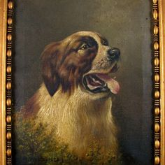 British Artist L. M. Webb Signed Saint Bernard Dog Portrait Painting from The Antique Boutique on Ruby Lane