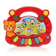 Rojas niños niños bebé granja de animales del desarrollo teclado de piano eléctrico primeros juguetes educativos musicales