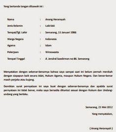 Contoh Surat Pernyataan Belum Menikah 2016 November 2016 | Pendaftaran CPNS 2016