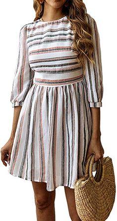 aecc9cfc549 BTFBM Women Summer Dresses Casual Striped Half Sleeve A Line Short Dress  (Black   Red